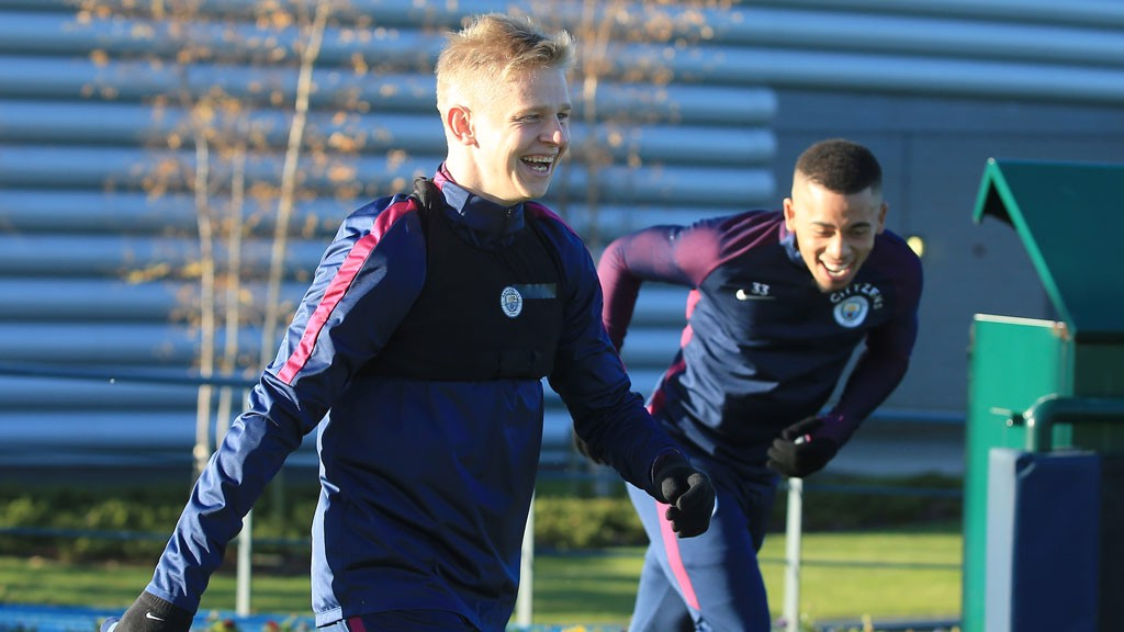 ALL SMILES: Zinchenko and Jesus share a joke in training.