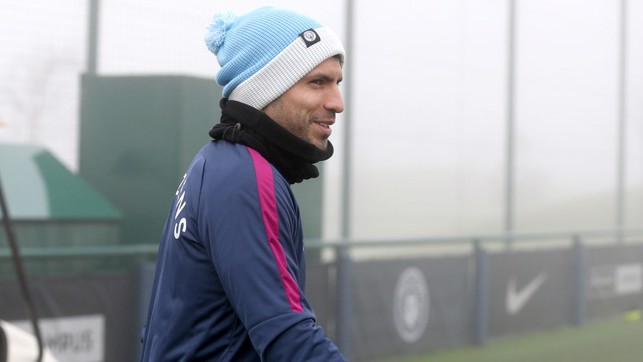 AGUER-OH!: Sergio Aguero is amused by the sight