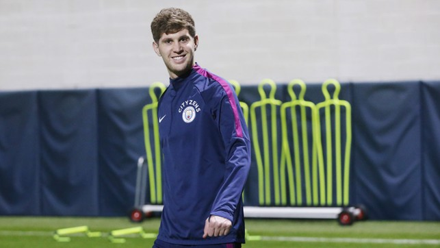 RECOVERY MAN: John Stones joined in with the session