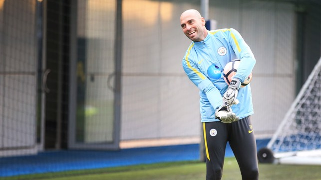 MY BALL: Willy Caballero is very protective of the ball as he puts his gloves on