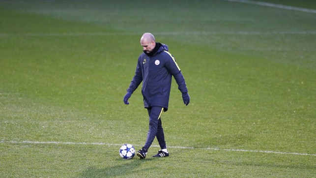 CONTROL: Guardiola with the ball at his feet