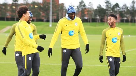 BIG MAN: Yaya Toure has Leroy Sane, Bacary Sagna and Raheem Sterling in hysterics