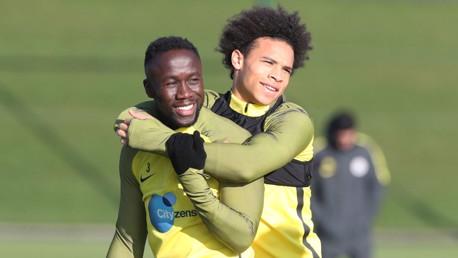 HUG IT OUT: Bacary Sagna and Leroy Sane