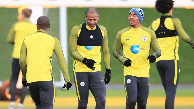 SAMBA: Fernandinho, Fernando and Gabriel Jesus get ready for the Hammers.