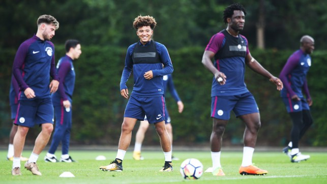 YOUNG GUN: Jadon Sancho joined up with the First Team for the opening training session.