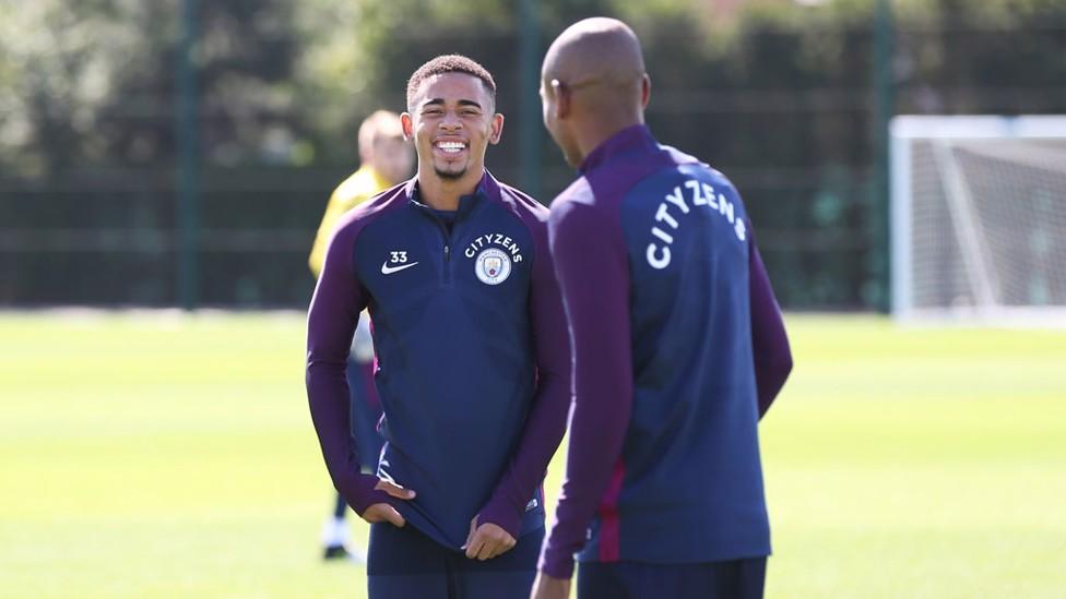 BRAZIL BOYS: Gabriel Jesus and Fernandinho are all smiles