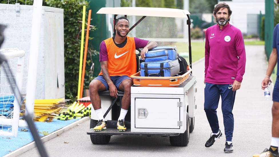 CHILLING: Raheem relaxes during training