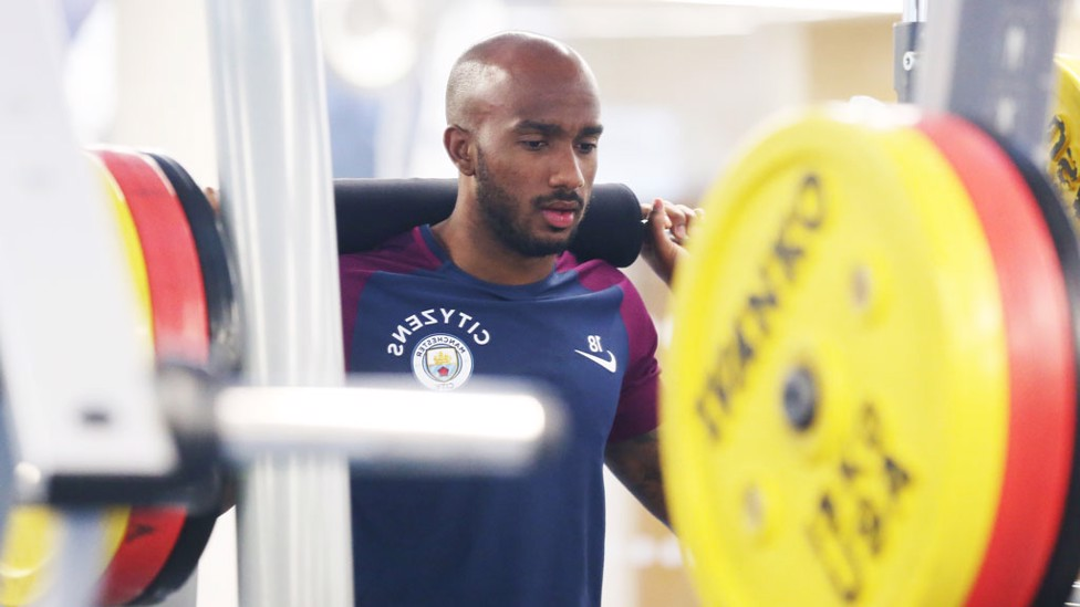 LIFT: Fabian Delph hits the weights