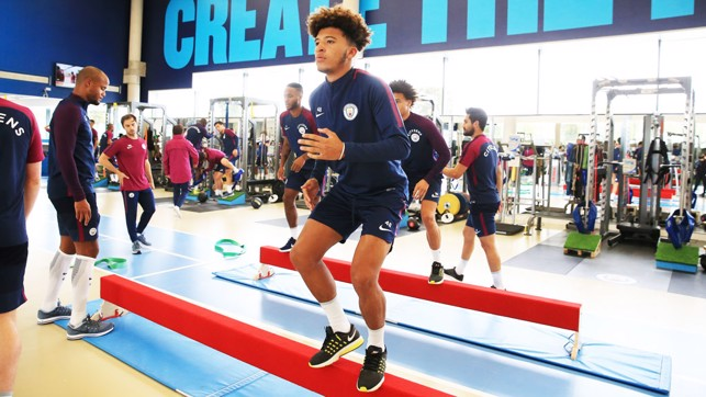 PUMPED: Jadon Sancho working hard