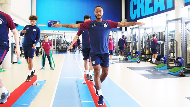 STERLING WORK: Raheem in the gym