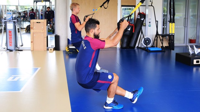 SERGING: Aguero working it hard