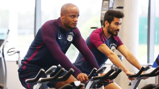 TOUR DE FORCE: Kompany and Gundogan hit the bikes