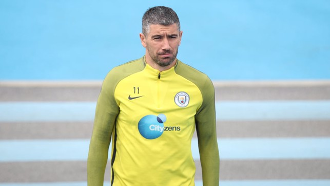 LONE WOLF: Aleks Kolarov walks to training