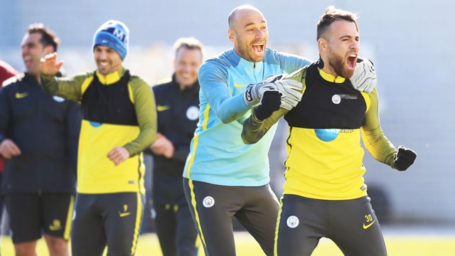 BIG REACTION: Willy Caballero and Nicolas Otamendi can't believe what they are seeing