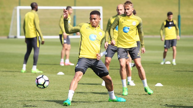 YOUNG GUNS: Gabriel Jesus and Aleix Garcia hard at work.
