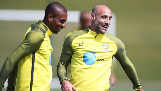 DUO: Fernandinho and Zaba were in good spirits.