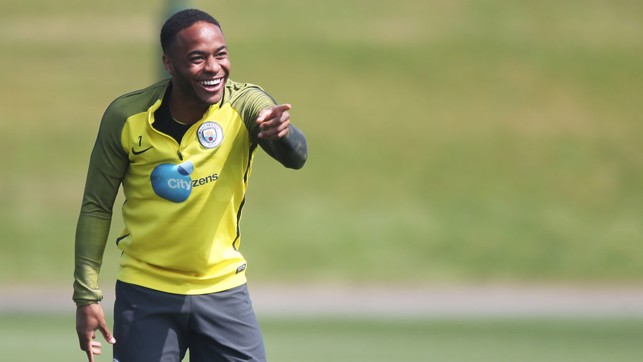 POINT OF VIEW: Who's made Raheem laugh here, we wonder?