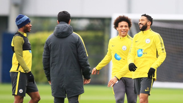 LAUGH OUT LOUD: Gael Clichy and Leroy Sané have fun.