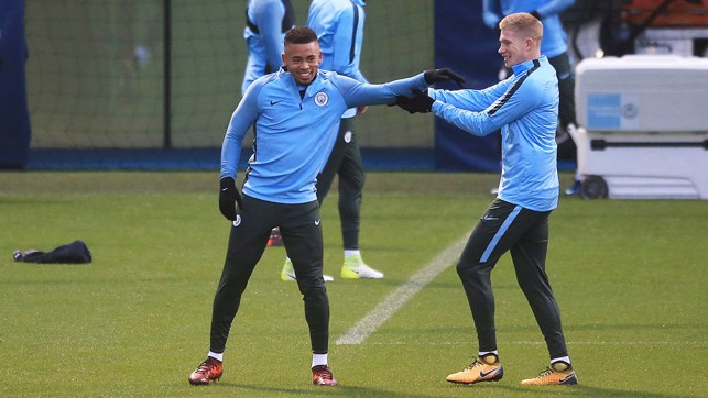 ROLL UP YOUR SLEEVES: Gabriel Jesus and Kevin De Bruyne have some fun