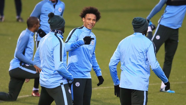 IN-SANE: The ever-upbeat Leroy Sane shares a joke