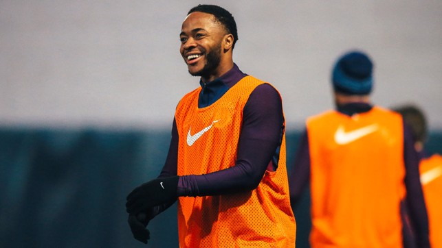 SMILE: Raheem Sterling in a cheery mood during training