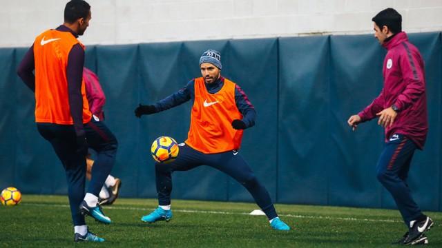 CONTROL: Sergio Aguero in full control of the ball