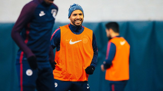 GRIN: Aguero produces a massive smile during training
