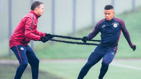 BEAT THE BAND: Gabriel Jesus shows his strength