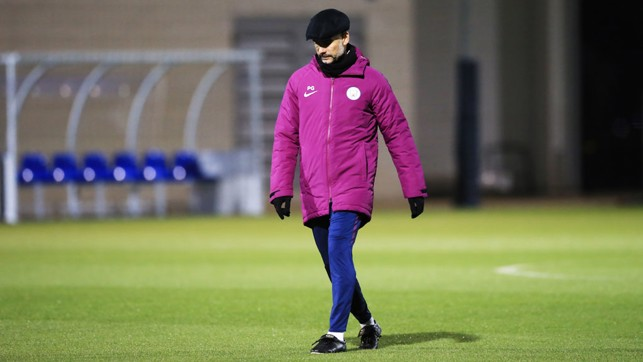 BOSS: Pep Guardiola is spotted during training