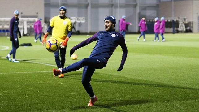 GET THAT BALL: Bernardo reaches for the ball