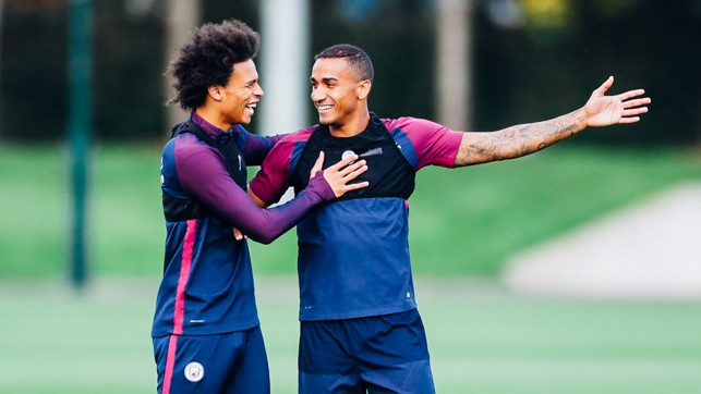 FUN AND GAMES: Leroy Sane and Danilo share a joke
