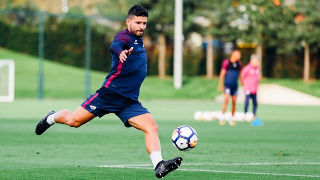 STRIKE: Sergio Aguero unleashes a powerful effort
