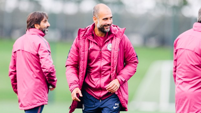 PEPPED: Pep Guardiola joins in the fun