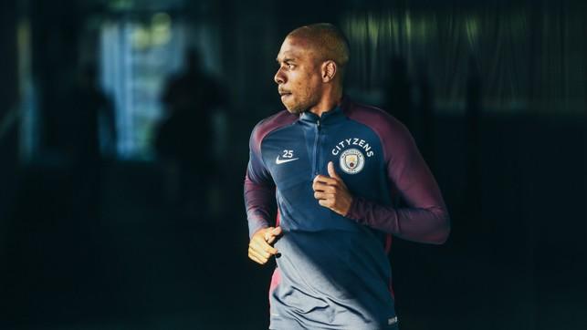 BRAZILIAN SUNSHINE: Fernandinho sees some rare Manchester sunlight