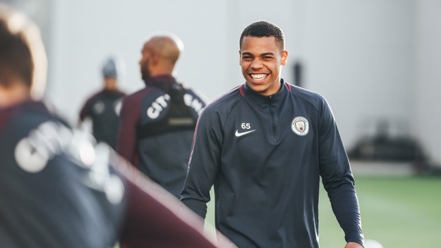 ALL TEETH: Lukas Nmecha was all smiles during training