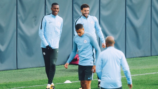 DEFENDER FOCUS: Tosin Adarabioyo and Kyle Walker share a joke