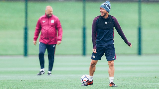 NO DAMP SPIRITS: The Mancunian rain didn't stop David Silva from smiling