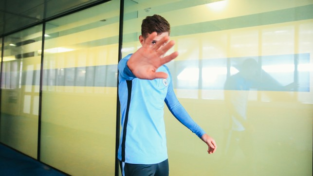 HANDS UP: John Stones was in a playful mood.