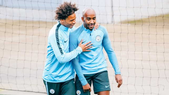 FOOTBALL FRIENDS: An arm round the shoulder from Leroy.