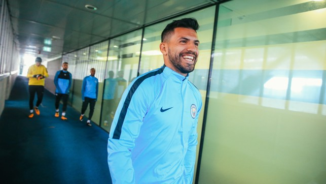 FORWARD THINKING: A smiling Sergio makes his way to the training pitch.