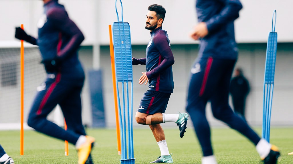 HE'S BACK: Ilkay Gundogan returned to training after limping off against West Brom.