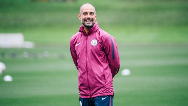 BOSS MAN: Pep watches on and has some important tactical decisions to make before Saturday