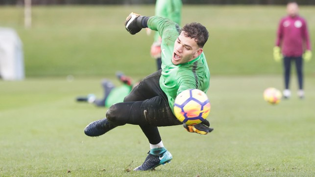 FULL STRETCH: Ederson makes the save