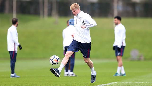 KDB: The Belgian shows his skills on the training pitches.