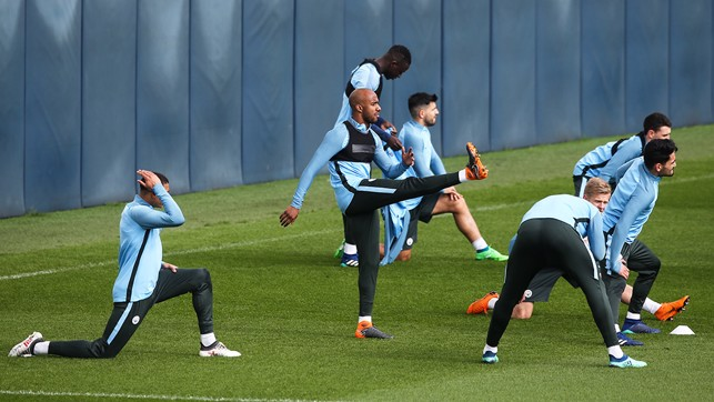 STRETCH: Limbering up for the clash.