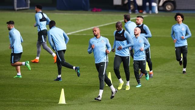 SKIPPER: Kompany leads the team in training.