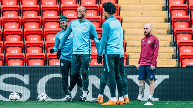 SKIPPER: Smiley Vincent Kompany in the training session.