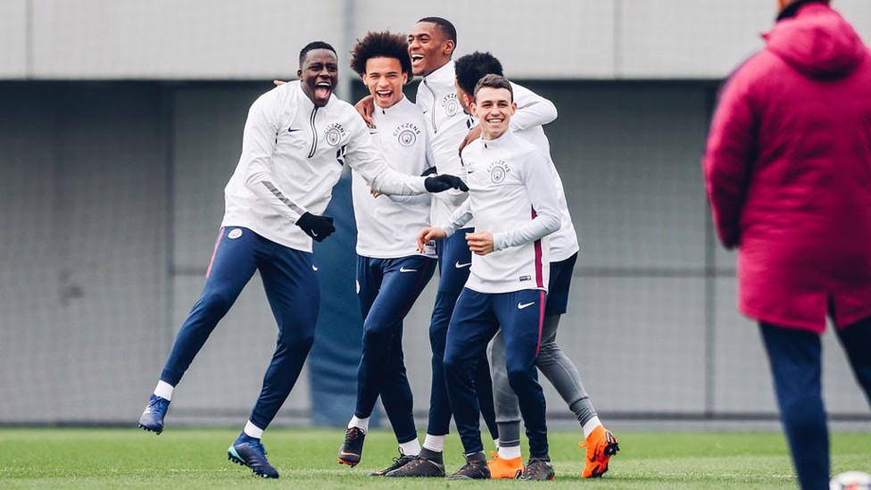 SMILE: The boys in high spirits ahead of the derby