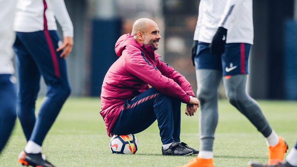 SITTING ON THE JOB: Come on Pep, we have a big one on Saturday!