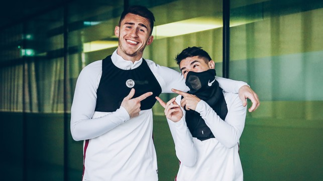 DUO: Laporte and Diaz striking pose for the camera.